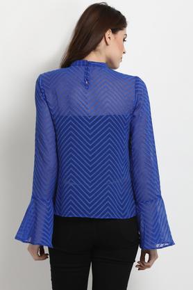 Womens High Neck Self Pattern Top