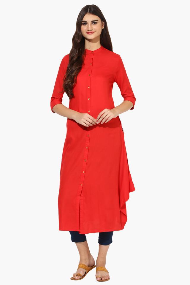 Womens Mandarin Collar Long A-Line Kurta