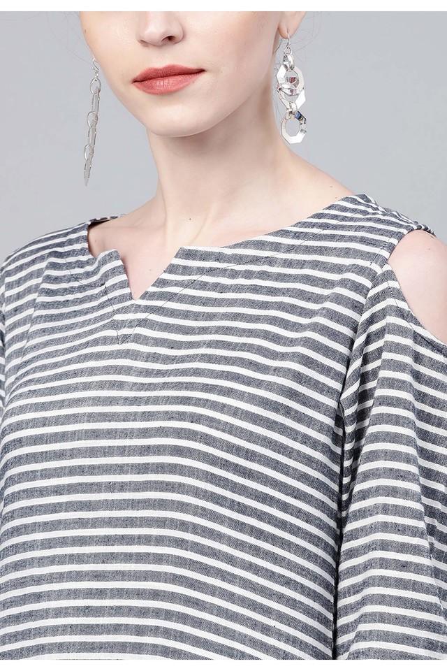 Womens Notched Collar Striped Kurta
