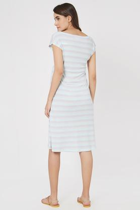 6a1a77b8ff X MYSTERE PARIS Maternity Round Neck Striped Maternity Dress