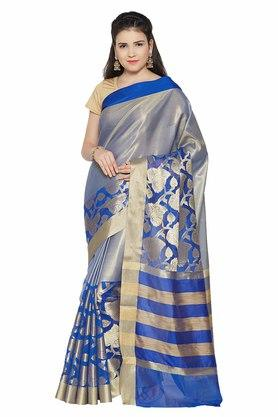 JASHN Womens Gold Woven Saree - 203033438_9319