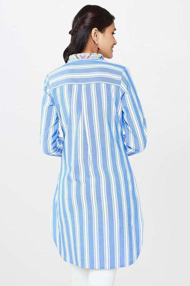 Womens Shirt Collar Striped Shirt Dress
