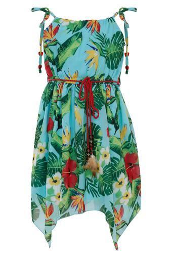 Girls Spaghetti Neck Printed Asymmetrical Dress