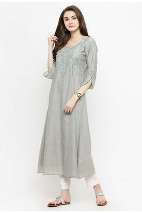Women Silk Solid A-line Kurta