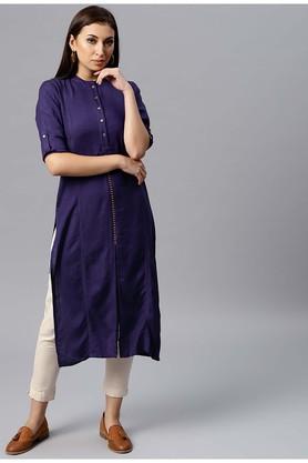 JUNIPERWomens Mandarin Neck Solid Kurta And Pant Set - 204920983_9654