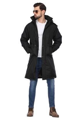 Mens Hooded Neck Solid Quilted Jacket