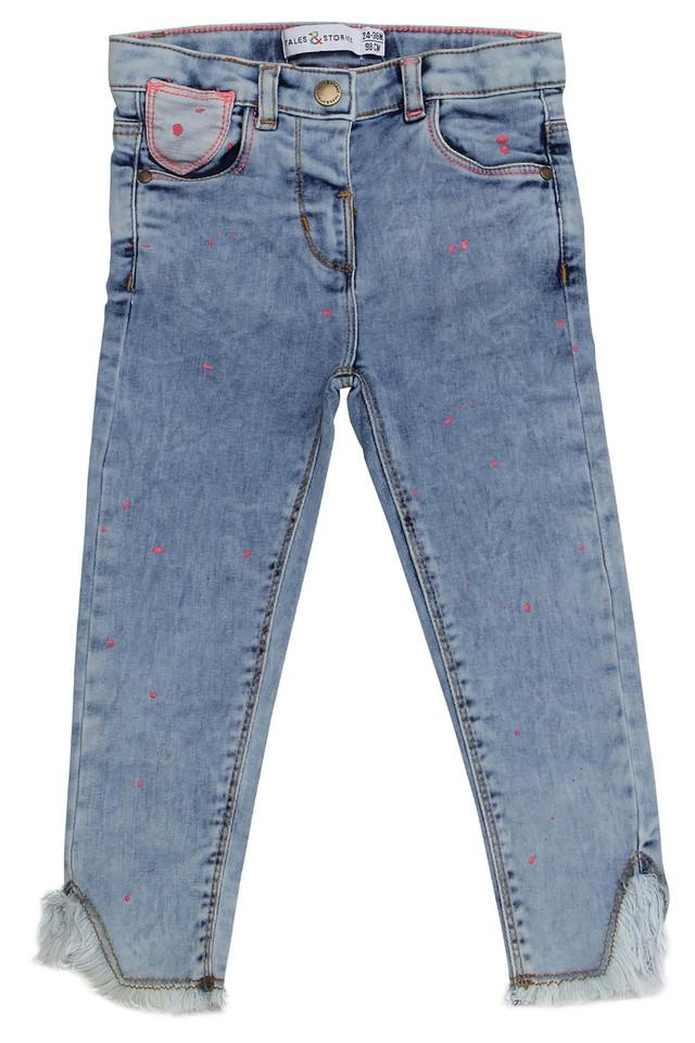 Girls Slim Fit 5 Pocket Stone Wash Jeans