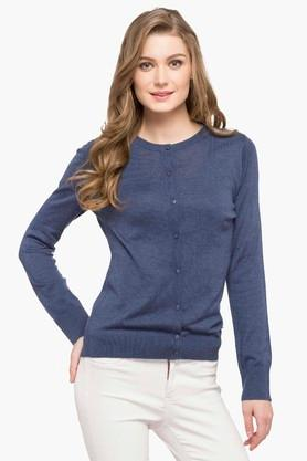 U.S. POLO ASSN.Womens Round Neck Slub Sweater