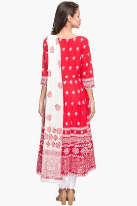 Womens Round Neck Printed Anarkali Churidar Suit