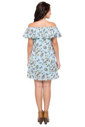 Womens Off Shoulder Printed A-Line Dress