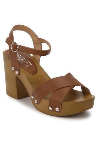 Womens Party Wear Buckle Closure Heeled Sandals
