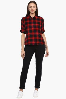 Womens Checked Casual Top