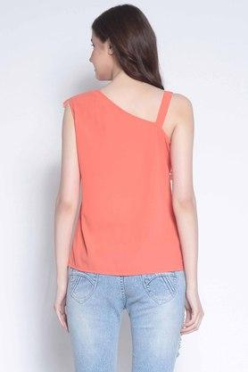 Womens One Shoulder Perforated Top