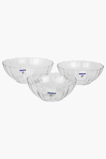 Round Transparent Textured 3 in 1 Serving Bowl