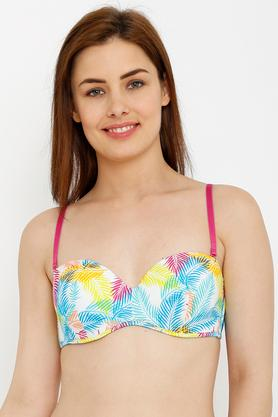 Womens Printed Padded Non Wired Demi Cup Bra