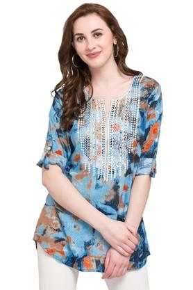 Womens Round Neck Printed Kurti