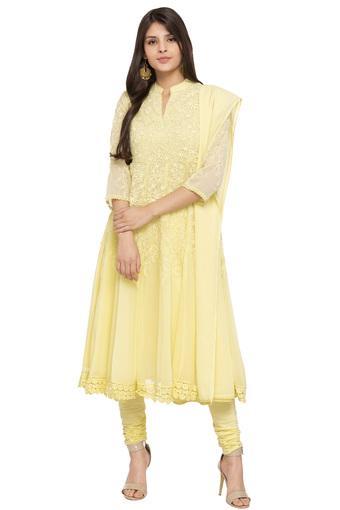 dadaf4895a8 Buy BIBA Womens Mandarin Collar Embroidered Churidar Suit