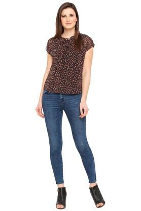 Womens Tie Up Floral Print Top