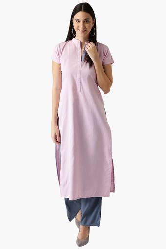 Womens Cotton Check Straight Kurta