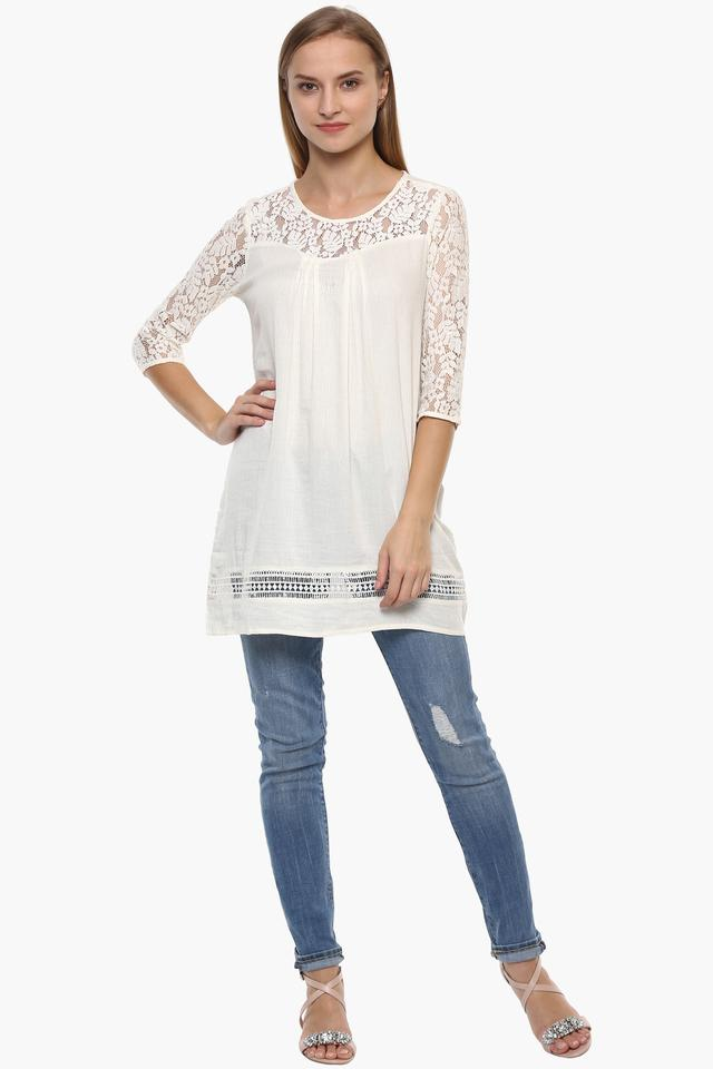 Womens Round Neck Lace Tunic