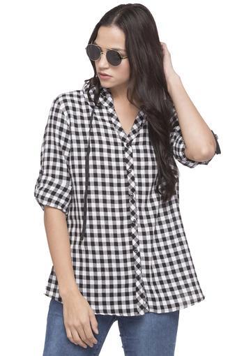 5bc7f6e83eceb Buy LIFE Womens Hooded Neck Checked Shirt