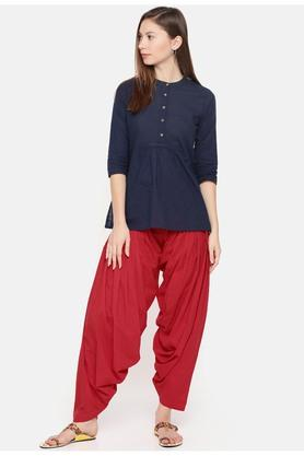 Womens Solid Patiyala