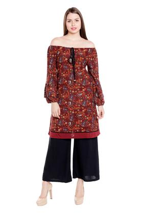 FUSION BEATS Womens Off Shoulder Printed Kurta