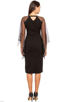 Womens Round Neck Solid Sheer Sleeves Bodycon Dress