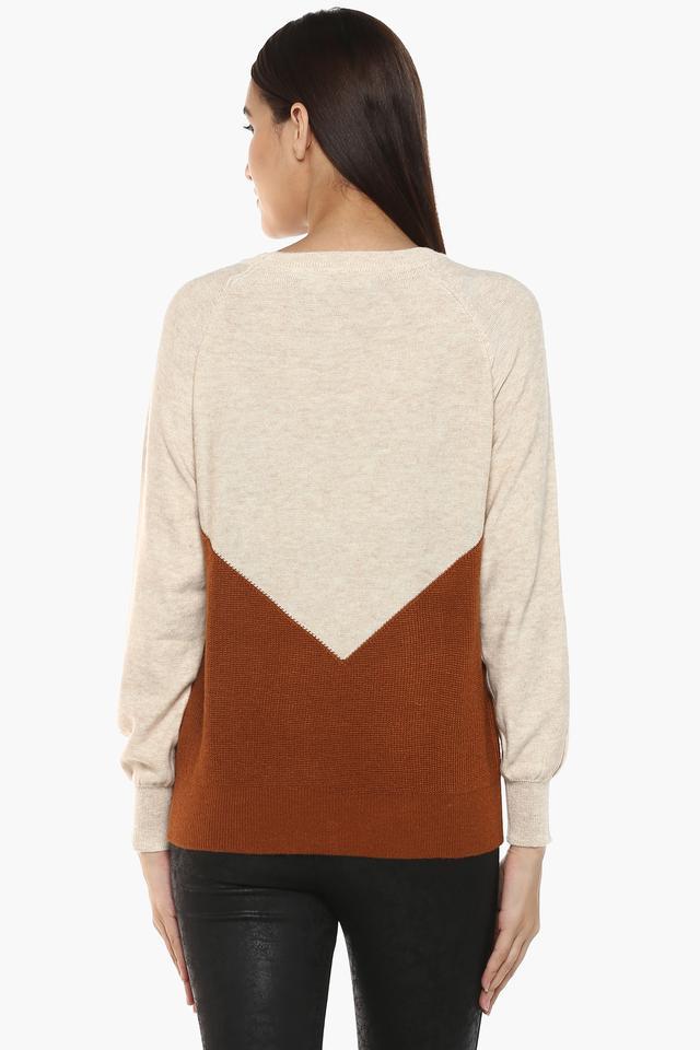 Womens Round Neck Colour Block Sweater