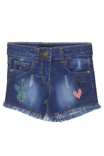 Girls Regular Fit 5 Pocket Mild Wash Shorts