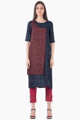 INDYA Womens Round Neck Printed Regular Fit Kurta