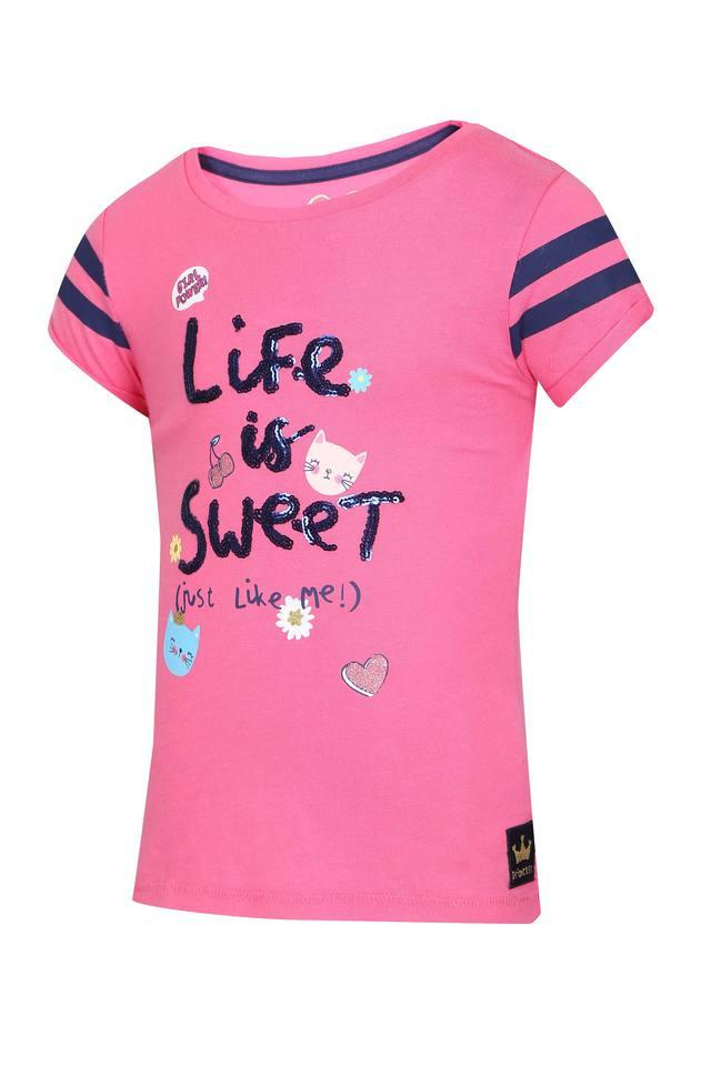 Girls Round Neck Embellished Tee