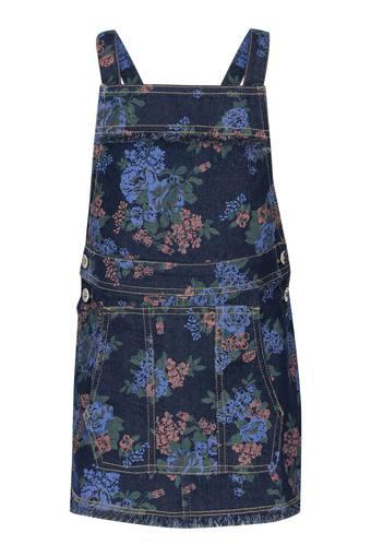 Girls Strappy Neck Floral Printed Dungaree Dress
