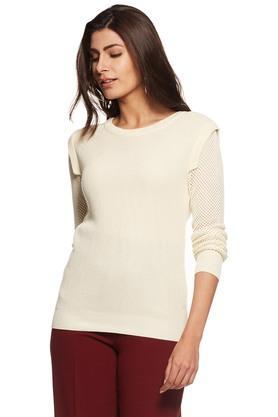 RHESONWomen Crochet Sleeve Sweater - 203305614