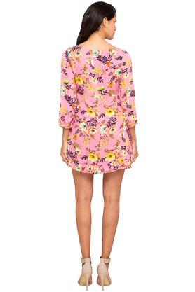 Womens Round Neck Floral Print A-Line Dress