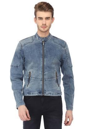 Mens Band Collar Washed Jacket