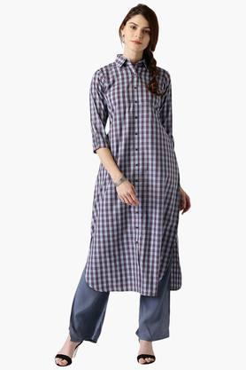 LIBASWomens Cotton Checks Pathani Kurta With Pockets