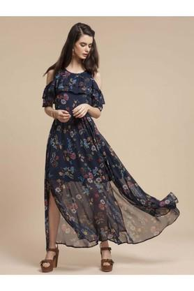 Womens Regular Fit Round Neck Printed Maxi Dress