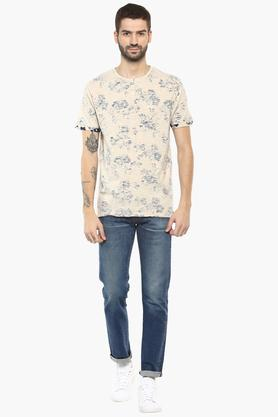 Mens Henley Neck Printed T-Shirt