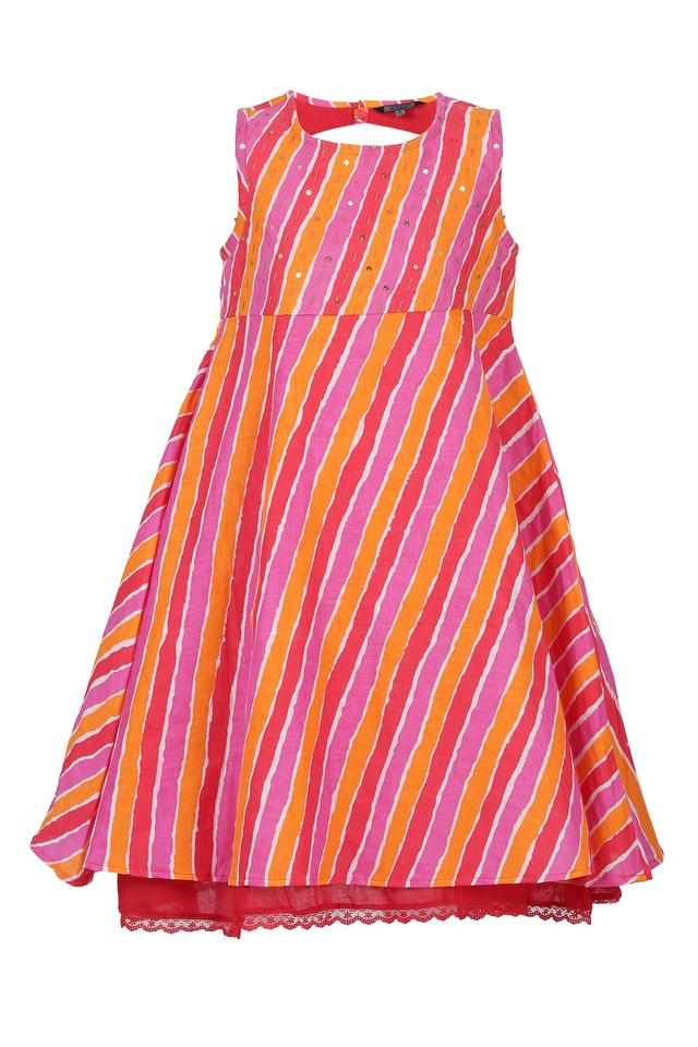 Girls Round Neck Stripe Flared Dress