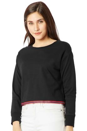 MISS CHASE Womens Round Neck Solid Sweatshirt - 204752990_9212