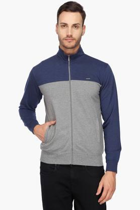PROLINE Mens Zip Through Neck Colour Block Sweatshirt