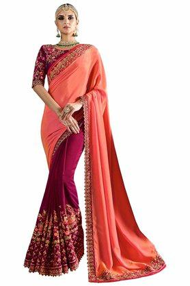 VRITIKA Womens Embroidered Saree With Blouse - 204144519_9557