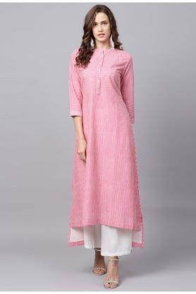Womens Mandarin Neck Striped Kurta