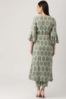 Womens Notched Printed Kurta and Pant Set