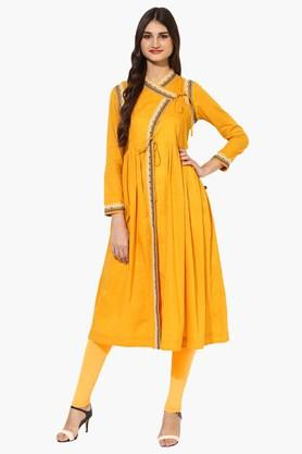 JUNIPER Womens Embroidered Angrakha Style Kurta
