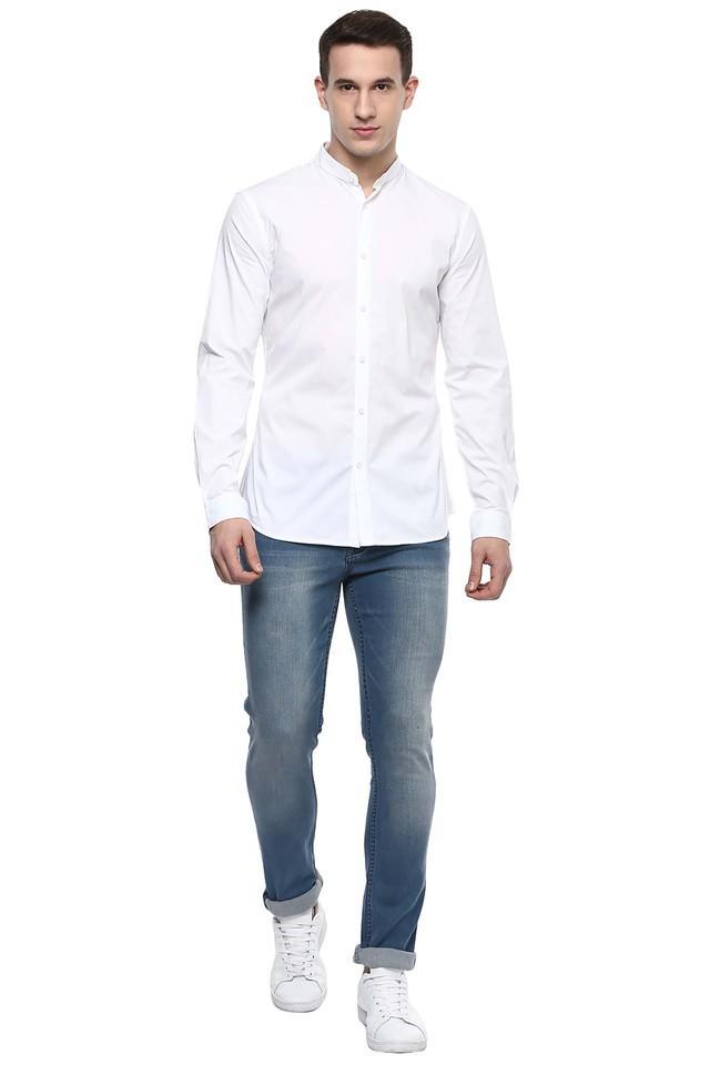 Mens Mandarin Collar Solid Casual Shirt