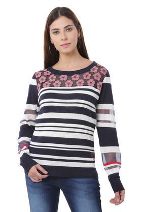 97c1f3b8dc X DESIGUAL Womens Round Neck Stripe Pullover