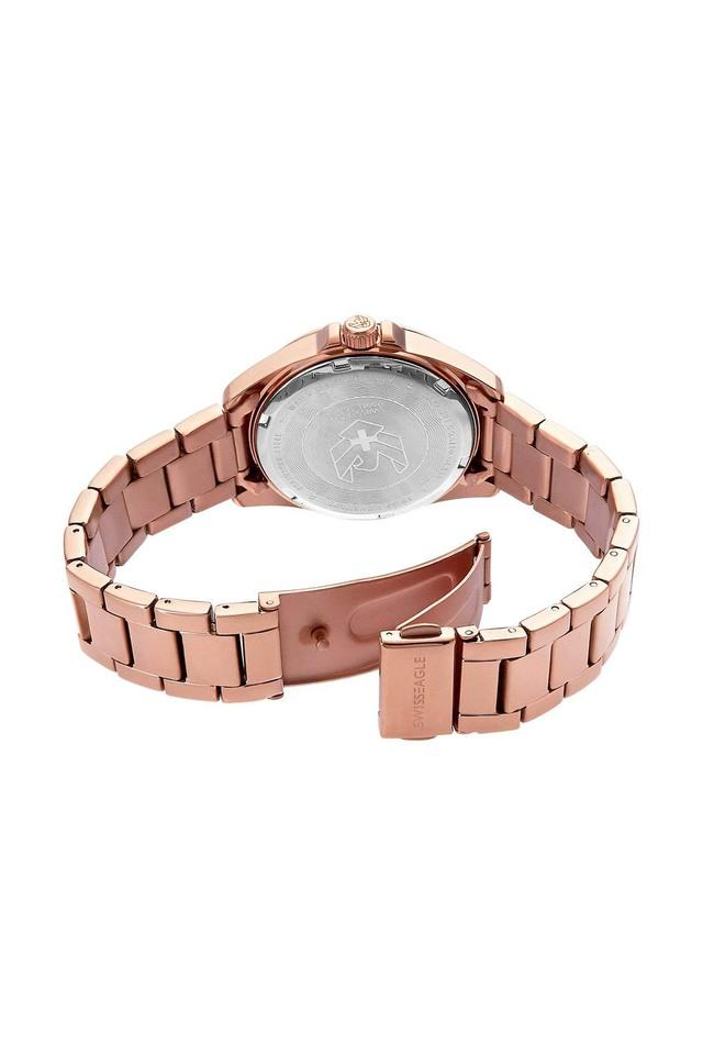 Womens Rose Gold Dial Analogue Watch