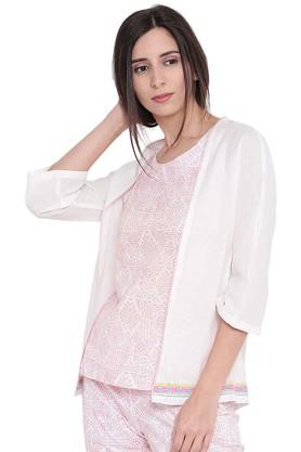 Womens Solid Open Front Shrug